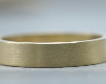 Mens Gold Wedding Band - 4mm Wedding Ring in 14K Yellow Gold Recycled Metal by Gioielli Designs