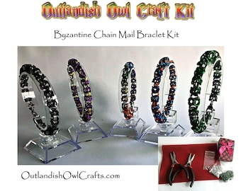 Blue and Orange Byzantine Chainmail Bracelet Kit, Make Your Own Bracelet Kit, Complete Chain Mail Kit for Beginners