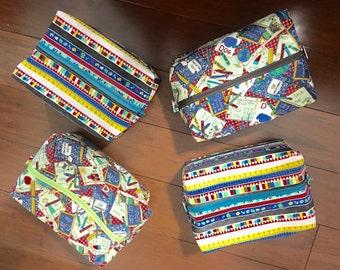 "Teacher / school themed travel bag with zipper 7"" x 9"" x 3"" Christmas Gift"