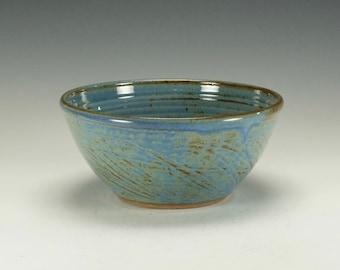 Stoneware pottery bowl.  Blue.  Ready to ship.