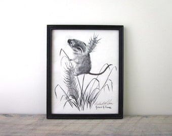 Black and White Mouse Drawing Signed and Framed Richard G. Lowe