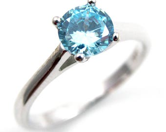 Diamond-Unique 1ct Aquamarine Solitaire Engagement Ring Sterling Silver (108)March Birthstone