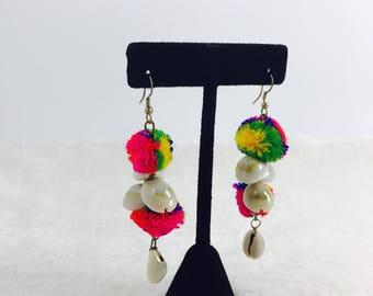 Colorful Pom pom Earrings/ Dangle Pom pom Earrings/ Bohemian Earrings/ Fusion Earrings/ Cowrie shells Earrings/ Sea shells Earrings/Navratri