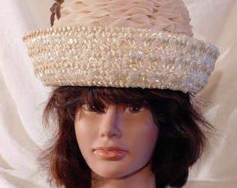 Vintage Hat Straw Raffia Bucket Hat Cream Chiffon Crown 1960s Rolled Brim Ladies Hat