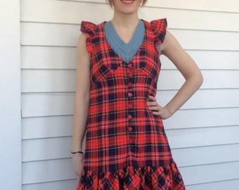 Plaid Mod Mini Dress 60s Red Vintage Ruffle Heart Buttons Wool Blend