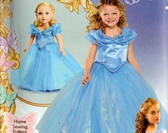 "CINDERELLA Simplicity Disney Pattern 1028 Child's sizes 3 4 5 6 7 8 & 18"" DOLL Costume"