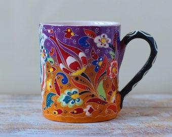Orange cup, teacup, mug, drinkware pottery, colorful pottery, pottery cup, gift pottery, coffee mug, handmade cup, tumbler, handpainted cup