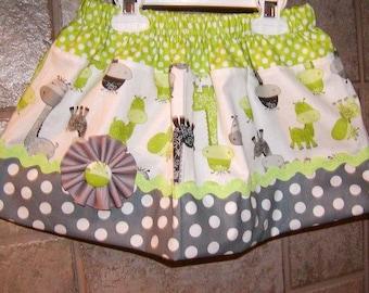 Girls skirt, Twirl Skirt, Infant skirt, toddler skirt, Custom..Baby Dinosaurs N Gray Dot..sizes newborn  to 10 girls