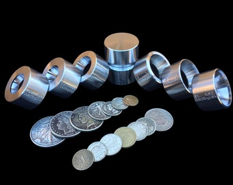 """SUPER """"8"""" Set of UNIVERSAL Folding, Reduction, Repair and Stabilizer Dies to make Coin Rings"""