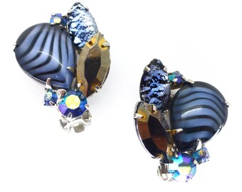 Vintage Juliana Style Paste Rhinestone Clip Earrings