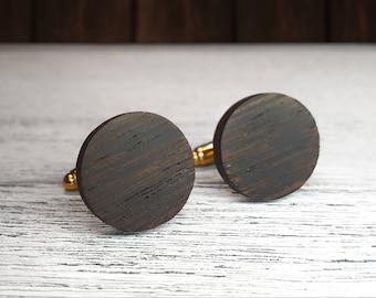 Wooden Cufflinks, Round cufflinks, gift for Groomsmen, 5th Wedding Anniversary Present, Groomsmen cufflinks, Wood cufflinks, Wenge wood