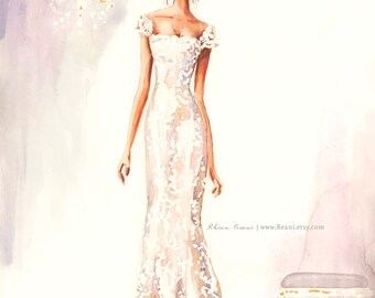 Wedding Art Custom Wedding Illustration, Bridal Portrait,Dress Drawing,Wedding Gift,Wedding Portrait, Couple Portrait, Save the Date Card