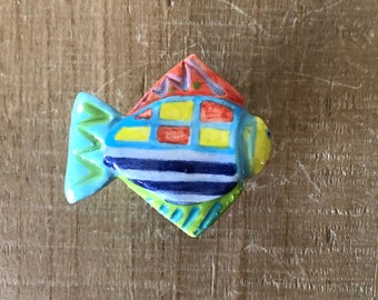Colorful fish Knob, Fish Drawer Pull, Fish Handle, Fish Cabinet Pull, Furniture Knob, Kitchen Cabinet Knob, Nautical Knob, Beach House Decor
