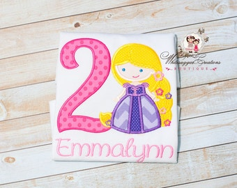 Girls Princess Birthday Shirt - Custom Princess as Rapunzel Birthday Shirt - Hot Pink and Purple Princess Shirt