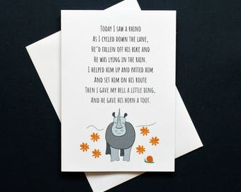 Funny cycling card, rhino card, rhino card, bike poem, funny poem card, toot horn card, Gregor the rhino