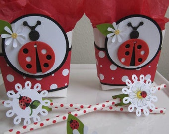 Favor Boxes, Ladybug Favor Boxes, Birthday Favor Boxes, Girl Birthday Favor Boxes, Ladybug Party Favors, Ladybug Treat Bags, Birthday Bags.
