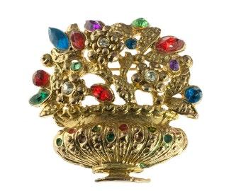 Gold Plated Flower Basket Brooch