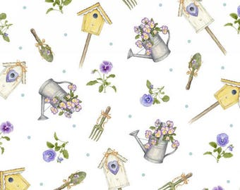 Pretty As A Pansy - Tossed Garden Motifs White from Henry Glass