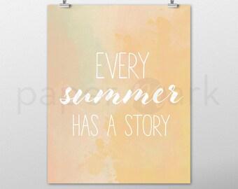 Summer Art, Wall Art, Summer Art Print, Home Decor, Summer Print, Beach Art, Summer Decor, Wall Decor, Instant Download, Orange Watercolor