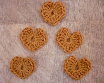 crochet hearts, set of 5 beige cotton
