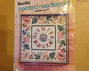 Bucilla needlepoint clock, morning glory