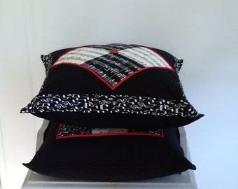 Unique Gift, Black & White Music Cushions Pair Patchwork Scatter Pillows 35 cm Square complete with Inserts