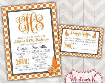 Orange and White Cheerleader Baby Shower Printable Invitation with Diaper Raffle Card; Tennessee; Vols; Tennessee Volunteers