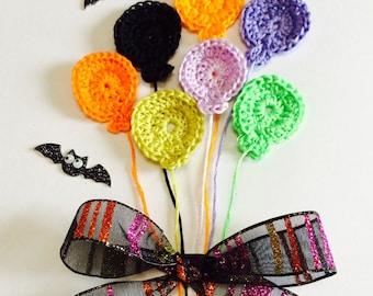 14 Small Crochet Balloon Applique Halloween Mix, Bright Color Crochet Balloons