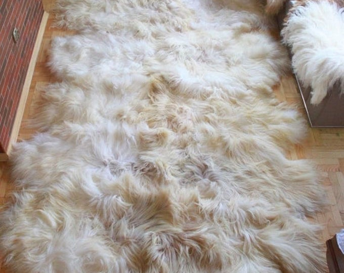 ON SALE Exclusive Genuine Natural rare ICELANDIC Sheepskin Rug, Pelt, soft long fur xxxxxl extra  Large  super soft fur - Deca