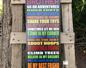 Custom brothers sign, painted wood brother typography, wall art, playroom, decor, brother sign