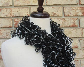 Black and silver ruffle scarf