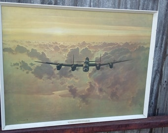 Large Coulson RAF Aeroplan Print Lancaster Crossing the East Coast. Militaria WW2