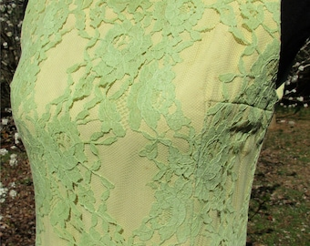 MOD LACE DRESS, Vintage 60s70s Boho, Couture Yellow dress, bright Green Lace Overlay! Designer Howard Wolf, mod Sheath dress, Mad Men, Small
