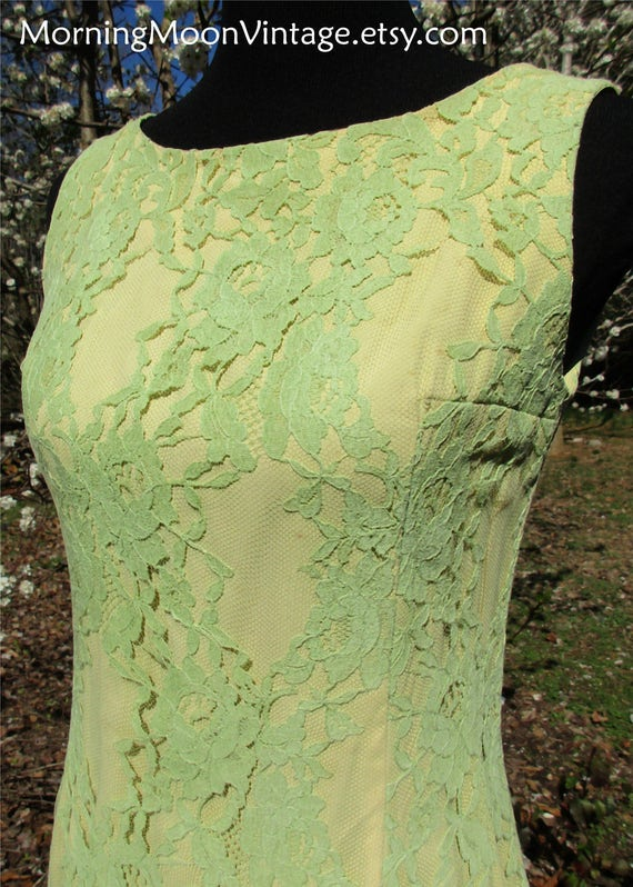 Overlay Mad Men Green Couture mod bright Sheath dress dress Small Yellow DRESS Vintage Wolf Lace 60s70s Designer Boho LACE MOD Howard qXxUzwPwH