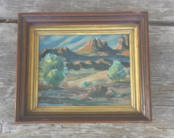 SALE! Early painting. Desert Landscape. Oil painting? Acrylic painting? Southwestern framed Canvas  1930s 1940s 1950s Unsigned decorator