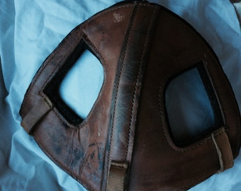 VINTAGE HORSE CAP, leather, face cover, sporting, costume, Halloween, upcycle