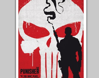Alternative the punisher poster art digital print comic art fan art wall art home decor illustration geek poster