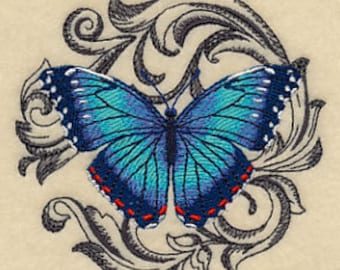 Embroidered Patch / applique - Baroque Blue Morpho Butterfly absolem - sew , glue , or iron on 3 x 4 inch ANY COLORS