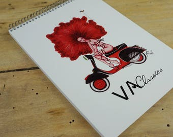 Notebook with my girl Vespa Afro