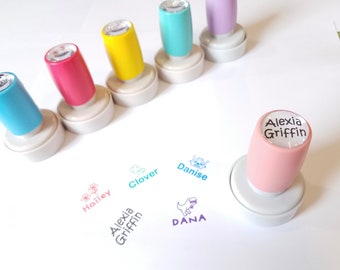 Peach Circle Self Inking Name Stamp. 5 Ink Colors Available. Custom Personalized Stamp.