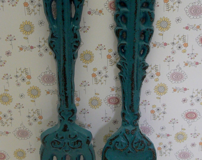 Fork Spoon Set Wall Decor Shabby Chic Teal Blue Home Decor Wall Art