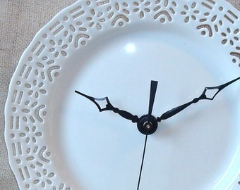 Small Lacy White Wall Clock - Porcelain Plate Clock - Unique Wall Clock - Wall Decor - Kitchen Clock - 1518