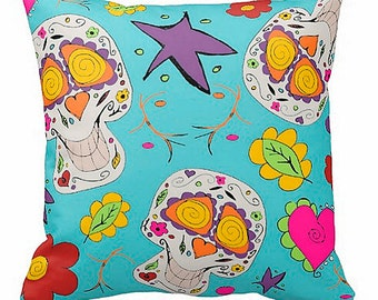 Kawaii skull pillow sugar skulls pillow round toss pillow or square you choose room decor kids adults skulls hearts flowers turquoise blue