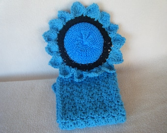 Crocheted Turquoise & Black Scrubber with a Turquoise Wash Cloth