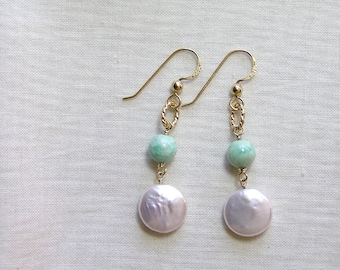 White Coin Pearl and Amazonite Earrings, Gold Filled