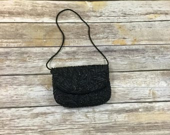 Black Vintage Beaded Purse / Black Beaded Pouch / Vintage Hand Bag Purse Clutch
