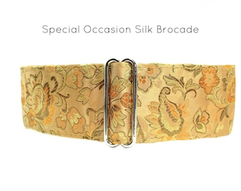 Silk Martingale Dog Collar, Gold Martingale Collar, Gold Greyhound Collar, Silk Dog Collar, Silk Brocade, Special Occasion Dog Collar
