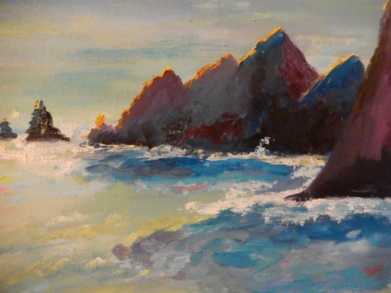 Oregon Beach Painting, Ocean Painting, Beach Seascape, Water Paintings