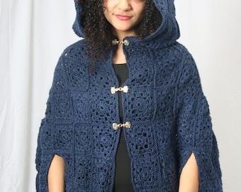 Ready to ship_ Blue cloak, medieval cloak, crochet cloak, medieval times, womens winter coat, Cloak, Hooded cape, Womens outerwear