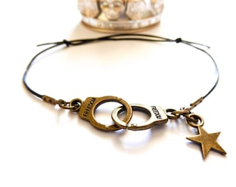 Bronze leather pair of handcuffs bracelet star MC Ink